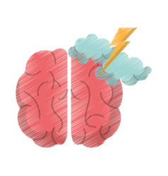 drawing brain idea brianstorm innovation vector image