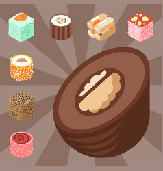 East delicious dessert isolated sweets food vector