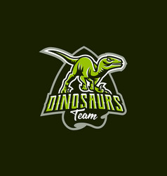 Emblem of an aggressive dinosaur sharp teeth vector