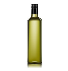 Empty glass bottle for oil 3d realistic olive vector