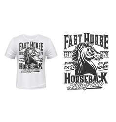 equestrian and riding club t-shirt print vector image