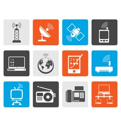 Flat communication and technology icons vector image