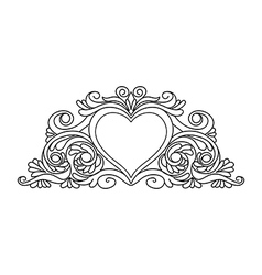 floral heart frame for design vector image