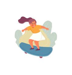 Girl on a skateboard vector
