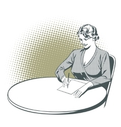 Girl writes sitting at table vector