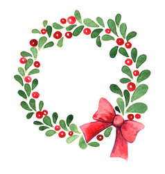 green leaves and red berry wreath with red bow vector image