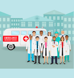 Group doctors and nurses and retro ambulance vector