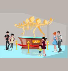 Group people watching tyrannosaurus dinosaur vector