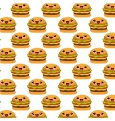 hamburger character kawaii style vector image