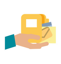 Hand with folder and envelope vector