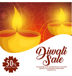Happy diwali sale with candles vector