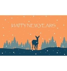 Happy new years winter with reindeer scenery vector