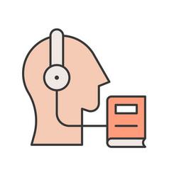 Head headphone and e book human skill development vector