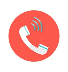 Headphone Call Circle Flat Icon vector image