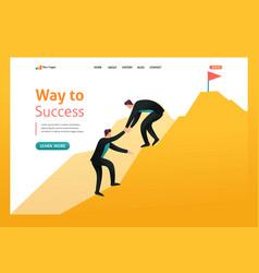 Help to achieve goals leadership flat 2d vector