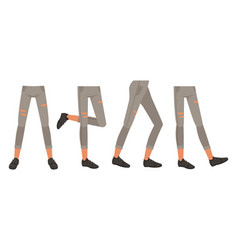 Human legs in ripped jeans and shoes in various vector