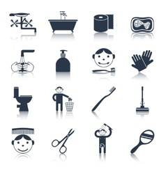 Hygiene Icons Black vector image