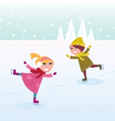 ice skating boy and girl vector image