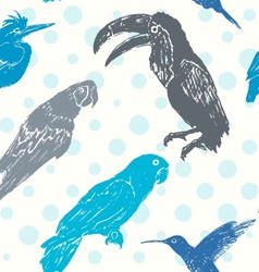 Ink hand drawn birds seamless pattern vector image