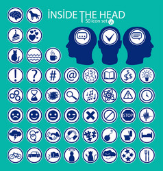 Inside the heads 50 icon set vector