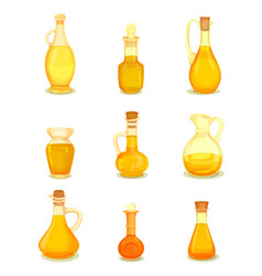Isolated oil liquid in bottle or jar oily drink vector