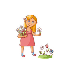 Little girl picking flowers on summer field vector