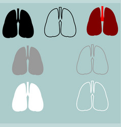 Lungs red black grey white icon vector