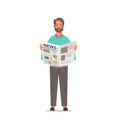 man holding newspaper reading daily news press vector image