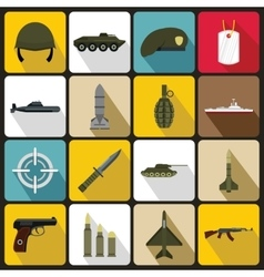Military icons set flat style vector