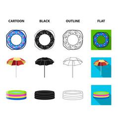 Multicolored swimming circle cartoonblackoutline vector