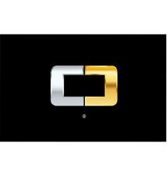 O silver gold letter alphabet logo icon design vector
