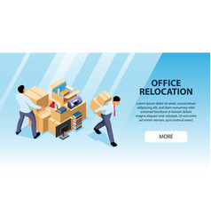 Office relocation horizontal banner vector