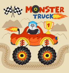 panda champion is riding monster truck vector image