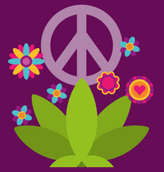 Peace and love plant flowers free spirit vector