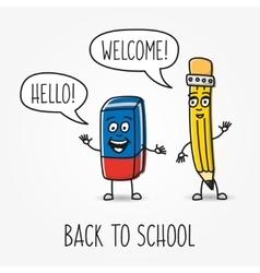 Pencil and eraser cartoon characters vector