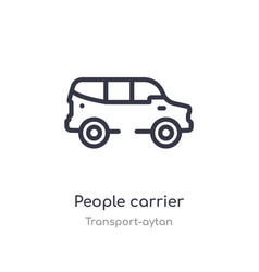 People carrier outline icon isolated line from vector