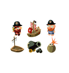Pirate game elements set male pirates cannon vector