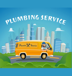 Plumbing service car fast ride to delivery plumber vector