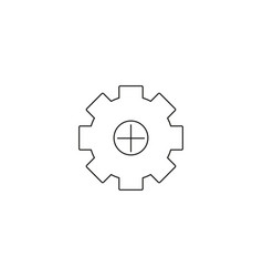 Plus gear icon pictogram symbol inside a rounded vector