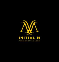 Premium m logo in gold color beautiful logotype vector