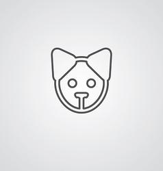 Puppy outline symbol dark on white background logo vector