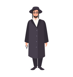 Rabbi with payot wearing traditional clothes and vector