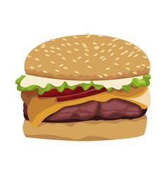 Realistic hamburger classic burger american vector