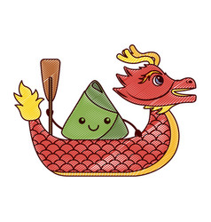 red dragon rice dumpling paddling festival chinese vector image