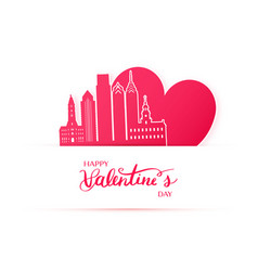 Red heart and silhouette of philadelphia city vector