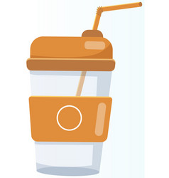 Reusable cup tumbler or mug with straw plastic vector