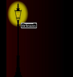 Rue dorleans sign with lamp vector