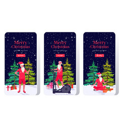 Santa claus doing different exercises bearded man vector