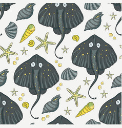 sea seamless stingray pattern vector image