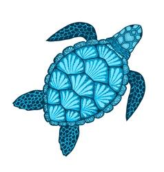 Sea turtle in line art style Hand drawn Design vector